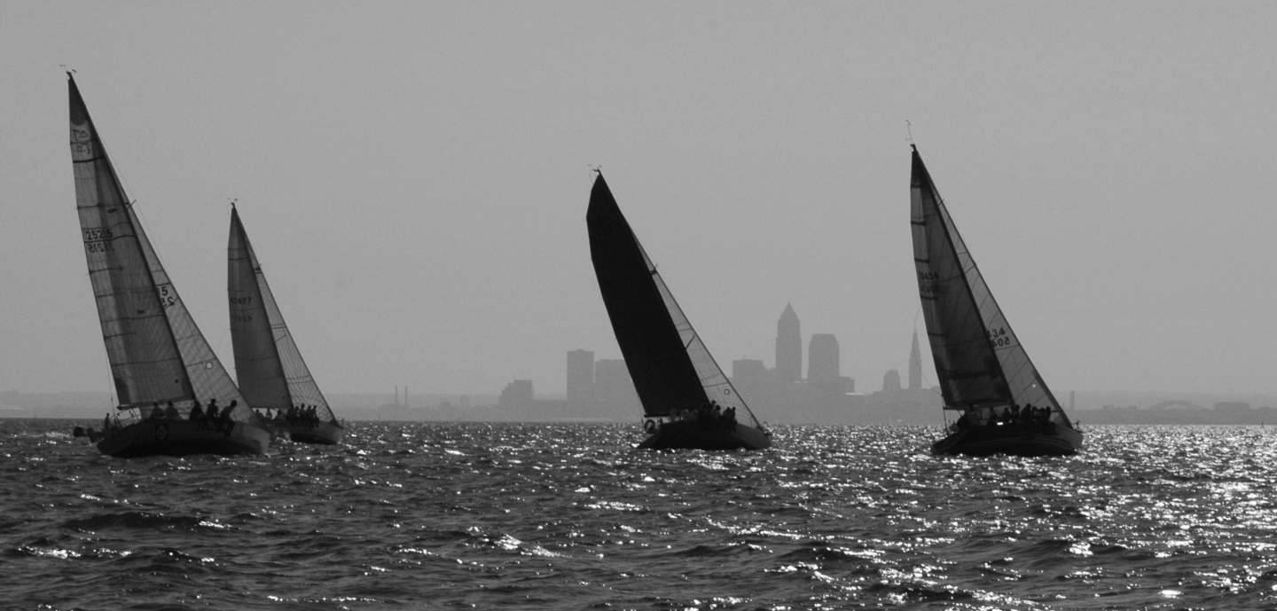 boats skyline b&w